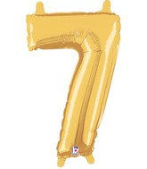 """14"""" Airfill Only (self sealing) Megaloon Jr. Shape 7 Gold Balloon"""