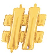 """14"""" Valved Air-Filled Shape Hashtag Gold Balloon"""