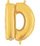 "14"" Valved Air-Filled Shape D Gold Balloon"