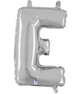 "14"" Valved Air-Filled Shape E Silver Balloon"
