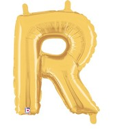 """14"""" Valved Air-Filled Shape R Gold Balloon"""