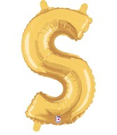 """14"""" Valved Air-Filled Shape S Gold Balloon"""