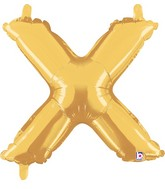 """14"""" Valved Air-Filled Shape X Gold Balloon"""