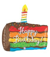 """28"""" Multi-Sided Rainbow Birthday Cake Balloon"""