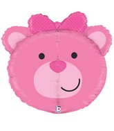 "27"" Multi-Sided Dimensionals Baby Girl Bear Balloon"