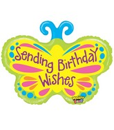 "28"" Mighty Brigh Butterfly Birthday Wishes Balloon"