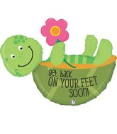 "40"" Foil Shape Back on Your Feet Turtle Balloon"