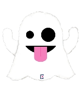 "28"" Foil Shape Emoji Ghost Balloon"