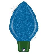 """22"""" Holographic Shape Balloon Glittering Lightbulb Blue"""
