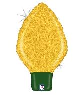 "22"" Holographic Shape Balloon Glittering Lightbulb Yellow"