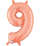 """14"""" Airfill with Valve Only Number 9 Rose Gold Balloon"""