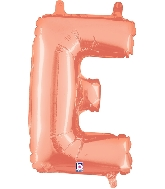 "14"" Airfill with Valve Only Letter E Rose Gold Balloon"