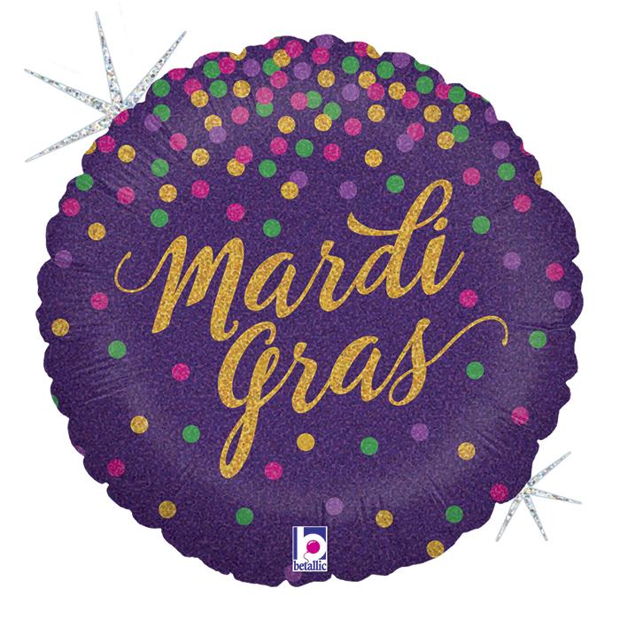 """18"""" Holographic Balloon Glittering Mardi Gras Confetti"""