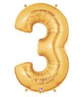 "7"" Airfill (requires heat sealing) Number Balloon 3 Gold"