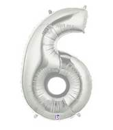 "7"" Airfill (requires heat sealing) Number Balloon 6 Silver"