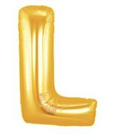 "7"" Airfill (requires heat sealing) Letter Balloons L Gold"