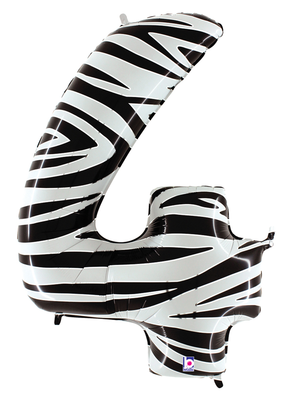 """40"""" Zebra Foil Shape Polybagged Number 4 Balloon"""