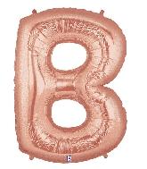 "40"" Foil Shape Megaloon Balloon Letter B Rose Gold"