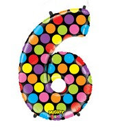 """40"""" Mighty Bright Shape Polybagged Number 6 Balloon"""