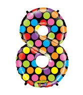 """40"""" Mighty Bright Shape Polybagged Number 8 Balloon"""