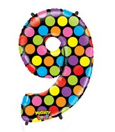 """40"""" Mighty Bright Shape Polybagged Number 9 Balloon"""