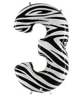 """40"""" Zebra Foil Shape Polybagged Number 3 Balloon"""