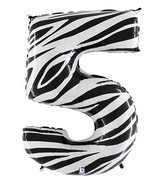 """40"""" Zebra Foil Shape Polybagged Number 5 Balloon"""