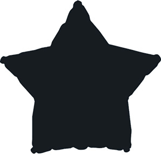 "7"" Black Star Self Sealing Valve Foil Balloon"