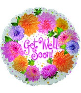 "9"" Get Well Soon Chrysanthemum Foil Balloon"