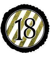 """18"""" 18 Black & Gold Glitter Foil Balloon"""
