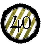 """18"""" 40 Black & Gold Glitter Foil Balloon"""