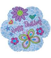 """9"""" Birthday Glitz Flower Foil Balloon"""