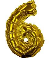 "8"" Gold #6 Shape Self Sealing Valve Foil Balloon"