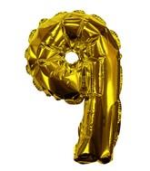 "8"" Gold #9 Shape Self Sealing Valve Foil Balloon"