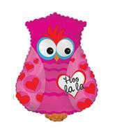"""24"""" Hoo La La Owl Balloon Shape Pink"""