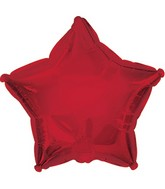 "7"" Dark Red Star Self Sealing Valve Foil Balloon"