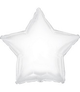 "7"" White Star Self Sealing Valve Foil Balloon"