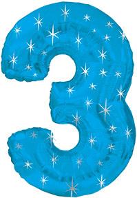 "38"" Blue Sparkle Three Number Balloon"