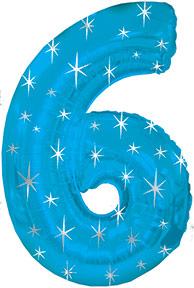 """38"""" Blue Sparkle Six Number Balloon"""