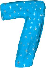 "38"" Blue Sparkle Seven Number Balloon"
