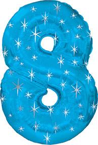 "38"" Blue Sparkle Eight Number Balloon"