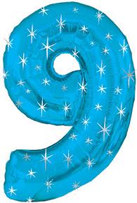 "38"" Blue Sparkle Nine Number Balloon"