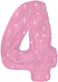 """38"""" Pink Sparkle Four Number Balloon"""