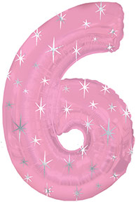 """38"""" Pink Sparkle Six Number Balloon"""