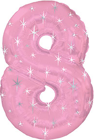 "38"" Pink Sparkle Eight Number Balloon"