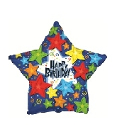 "18"" Happy Birthday Stars Shape Foil Balloon"