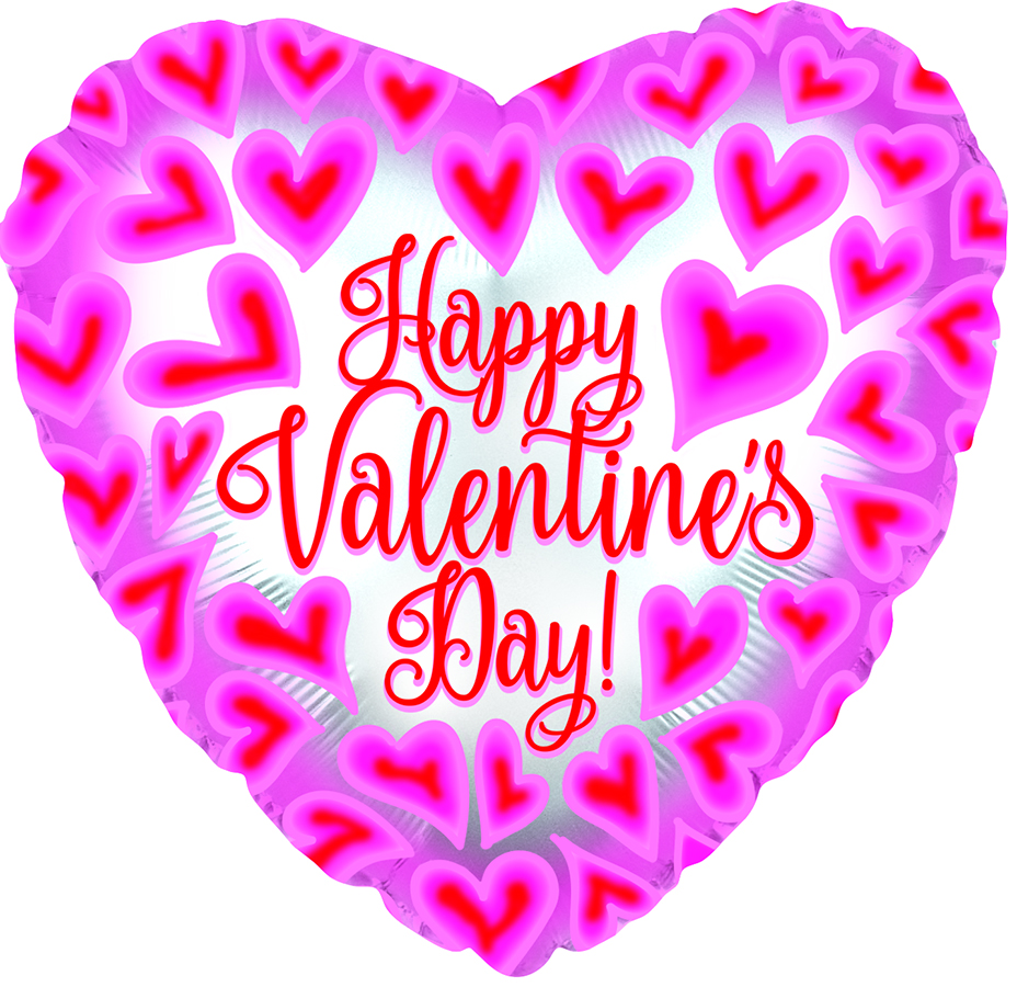 """17"""" Happy Valentine's Day Pink/Red Hearts Foil Balloon"""