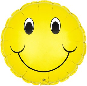 """18"""" Smiley Two Sided Smiley Face Balloon"""