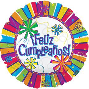 "17"" Feliz Cumpleanos Burst Of Colors  Balloon Packaged"