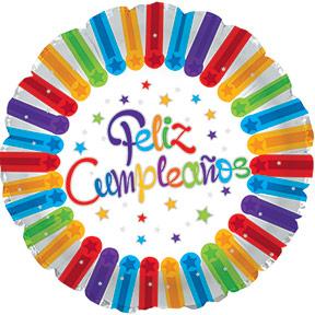 "17"" Feliz Cumpleanos Bright Stars Balloon Packaged"